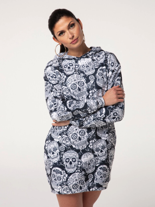 Mr Gugu Skull Flower hoodie oversized dress