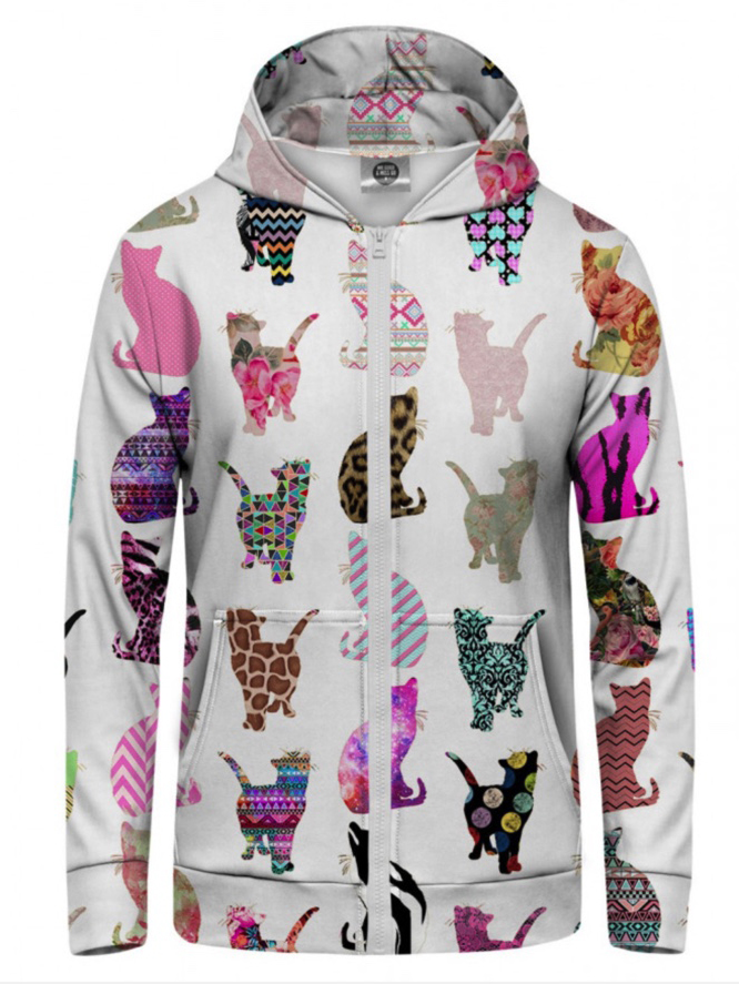 Mr Gugu Comic Cat zip-up hoodie