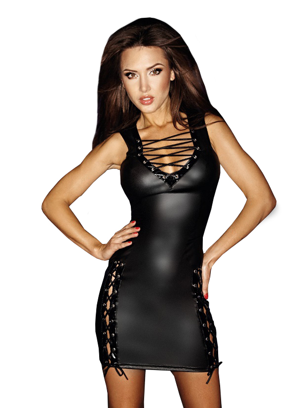 Noir Wetlook Dress F079